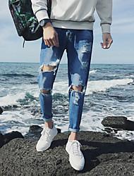 Masculino Simples Moda de Rua Activo Cintura Média Micro-Elástico Jeans Chinos Calças,Reto Delgado Cor Única,rasgado