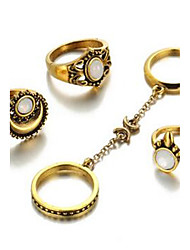Jewelry Set Basic Gemstone Circle Silver Gold Rings For Daily Casual 1 Set Wedding Gifts
