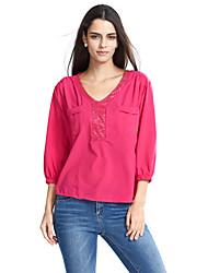 Damen Patchwork Street Schick Ausgehen T-shirt,V-Ausschnitt Frühling / Herbst ¾-Arm Rot / Grau / Grün Polyester Mittel