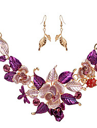 MPL Europe and the United States and the big fashion color drops of oil leaves Necklace Earrings Set