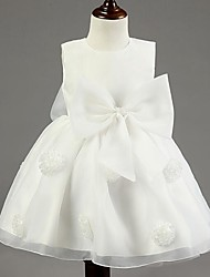 Ball Gown Short / Mini Flower Girl Dress - Cotton Organza Satin Chiffon Jewel with Bow(s) Flower(s)