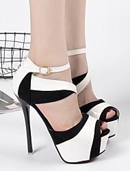 Damen-High Heels-Lässig-PUFersenriemen-Gold Weiß
