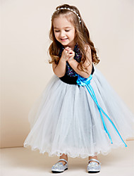 A-line Tea-length Flower Girl Dress - Tulle Sequined Jewel with Draping Flower(s) Sash / Ribbon Sequins