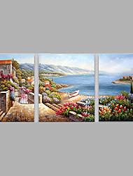 Pintados à mão Pessoas Horizontal,Moderno 3 Painéis Tela Pintura a Óleo For Decoração para casa