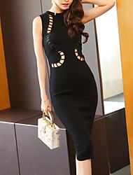 Women's Going out Holiday Sexy Simple Bodycon Dress,Solid Round Neck Midi Sleeveless Polyester Spring Summer Mid Rise Inelastic Medium
