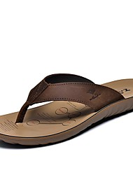 Men's Slippers & Flip-Flops Spring Summer Fall Comfort Cowhide Outdoor Office & Career Dress Casual Light Brown Water Shoes