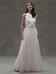 LAN TING BRIDE Floor-length Jewel Bridesmaid Dress - Two Pieces Sleeveless Satin Tulle