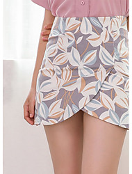 Women's Mid Rise Mini Skirts Bodycon Solid