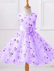 Ball Gown Knee-length Flower Girl Dress - Satin Tulle Polyester Sleeveless Jewel with Bow(s) Flower(s) Pattern / Print Sash / Ribbon