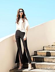 Для женщин На выход На каждый день Офис Блузка Брюки Костюмы Круглый вырез,просто Однотонный 1/2 Length Sleeve