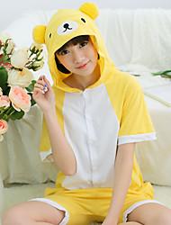 Kigurumi Pajamas Bear Leotard/Onesie Festival/Holiday Animal Sleepwear Halloween Yellow Patchwork Cotton Kigurumi For Unisex Carnival
