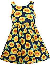 Girl Fashion Dress Dark Blue Sunflower Print Dresses Party Pageant Princess Children Clothes