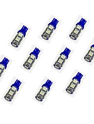 10pcs t10 9 * 5050 smd conduit voiture ampoule lumière bleue dc12v