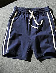 Men's Low Rise Micro-elastic Shorts Pants,Simple Loose Striped