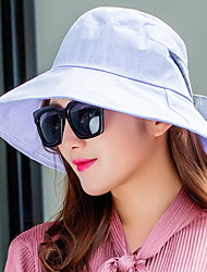 Women Foldable Summer Breathable Shade Ladies Anti-UV Thin Fisherman Dome Bow Sunshade Cloth Hat