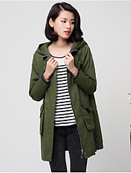 Women's Going out Casual/Daily Simple Spring Coat,Solid Hooded Long Sleeve Long Cotton