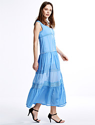 Women's Casual/Daily Sexy / Vintage A Line Dress,Patchwork V Neck Maxi Sleeveless Blue / White Cotton Summer