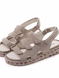 Черный Миндальный-Для женщин-Повседневный-ПолиуретанУдобная обувь-Сандалии