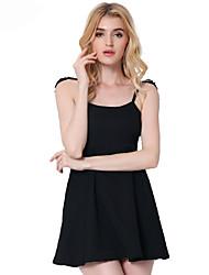 Damen A-Linie Das kleine Schwarze Kleid-Ausgehen Party/Cocktail Sexy Solide Rundhalsausschnitt Übers Knie Ärmellos Baumwolle Polyester