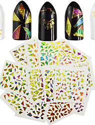 24pcs/set New Fashion Nail Art Laser Irregular Glass Shredding Sticker Colorful Lovely Design Decoration For Nail Art DIY Beauty Random Delivery