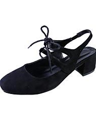Damen-High Heels-Lässig-PU-Blockabsatz-Fersenriemen-