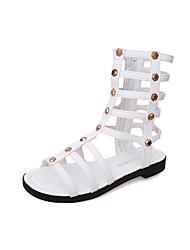 Women's Sandals Gladiator PU Spring Summer Casual Dress Gladiator Beading Zipper Flat Heel White Black Khaki Flat
