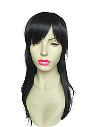 Long Wavy Synthetic Fiber Wig With Neat Bangs Women Party Wig Hairstyle Heat Resistant Wig