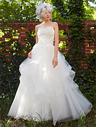 Princess Strapless Floor Length Tulle Wedding Dress with Beading Appliques