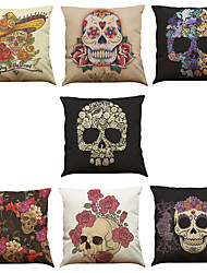 Set of 7 Skull Head Pattern Linen  Cushion Cover Home Office Sofa Square  Pillow Case Decorative Cushion Covers Pillowcases As a Gift