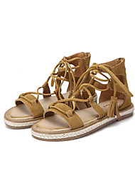 Women's Sandals Summer Gladiator Suede Casual Flat Heel Brown Black