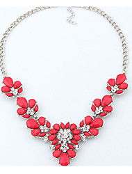Women's Statement Necklaces Multi-stone Imitation Pearl Flower Resin Rhinestone Alloy Unique Design Petals Costume Jewelry Floral Bikini
