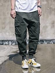 Masculino Moda de Rua Simples Cintura Média Chinos Calças,Solto Cor Única