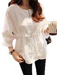 Primavera versão coreana da camisa feminina camisa do laço em torno do pescoço camisa de algodão de manga com babados blusa