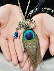 Bohemia Peacock Feathers Diamond  Long Pendant Sweater Chain Necklace Adjustable Dangling Gifts for the Party Women Jewelry