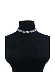 Women's Choker Necklaces Rhinestone Leaf Rhinestone Alloy Unique Design Euramerican Fashion Personalized Statement Jewelry Silver Jewelry