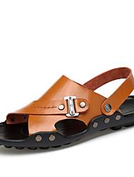 Белый Черный Темно-русый Темно-коричневый-Для мужчин-Для прогулок Повседневный Для занятий спортом-Кожа-На плоской подошве-Удобная обувь-