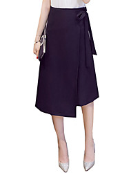 Women's Bow OL Plus Size Elegent A Line Solid Long Skirts Work High Rise Asymmetrical