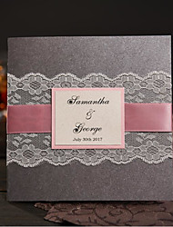 50 Gray Rural Handmade Wedding Invitations With RSVP Custom Lace Wedding Cards with Pink Ribbon NK303