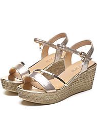 Damen-Sandalen-Lässig-PUKomfort-Gold Schwarz