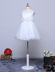 Vestido de menina de flor de joelho com uma linha de joias - Tulle sem mangas de joia com flor