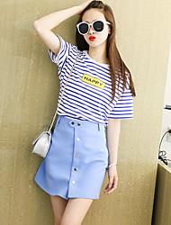 Damen Gestreift Einfach Ausgehen Shirt Rock Anzüge,Rundhalsausschnitt ½ Ärmellänge Micro-elastisch