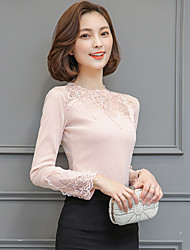 Women's Casual/Daily Simple Blouse,Solid Embroidered Round Neck Long Sleeve Silk Cotton Sheer Thin