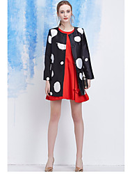 Women's Casual/Daily Work Vintage Street chic Sophisticated Spring Fall Trench Coat,Polka Dot Round Neck Long Sleeve Long Polyester
