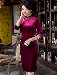 Women's Casual/Daily Simple Bodycon Dress,Solid Stand Above Knee ¾ Sleeve Rayon Spring Low Rise Micro-elastic Medium