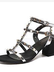 Damen-High Heels-Lässig-PUFersenriemen-Schwarz Silber