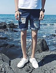 Homme simple Taille Normale Jeans Short Pantalon,Mince Couleur Pleine