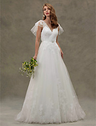 A-Line V-neck Sweep / Brush Train Tulle Wedding Dress with Appliques Sash / Ribbon Crystal Floral Pin by LAN TING BRIDE®