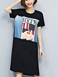 Damen Druck Einfach Lässig/Alltäglich T-shirt,Rundhalsausschnitt Kurzarm Polyester