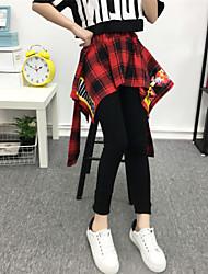 Mujer Sencillo Chic de Calle Tiro Medio Chinos Pantalones,Corte Ancho Escocés