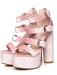 Women's Sandals Summer Club Shoes PU Fabric Party & Evening Dress Casual Crystal Heel Buckle Crystal Heel